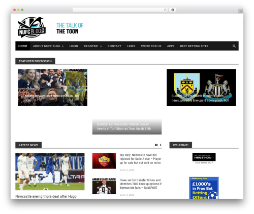 Awaken Pro theme WordPress - nufcblog.co.uk