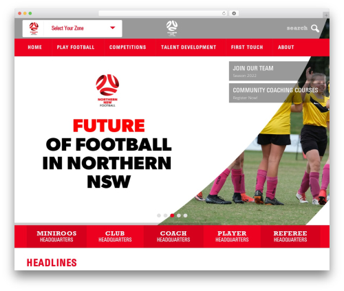 elite WordPress template - northernnswfootball.com.au