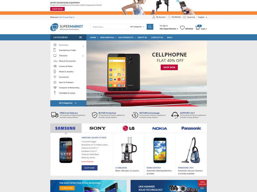 Supermarket WordPress page template