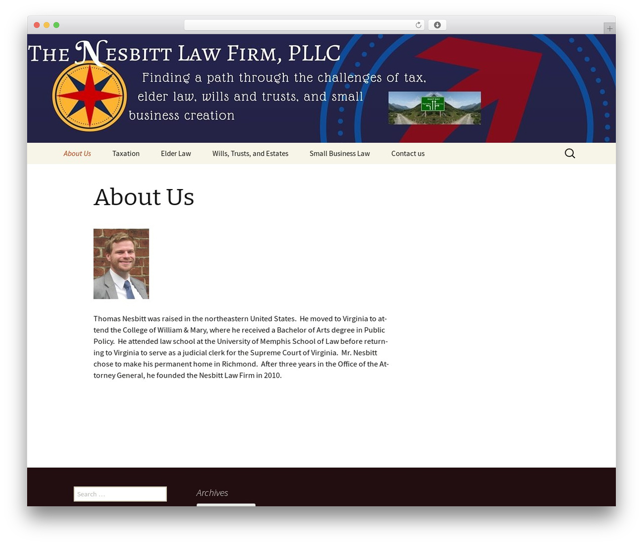 Twenty Thirteen WordPress theme - nesbittlawfirm.com
