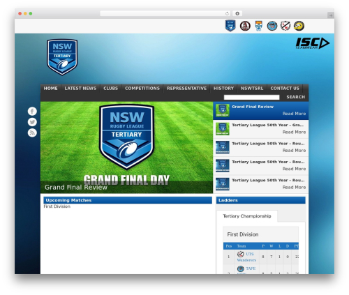 Football Club WordPress page template - tertiaryleague.com.au