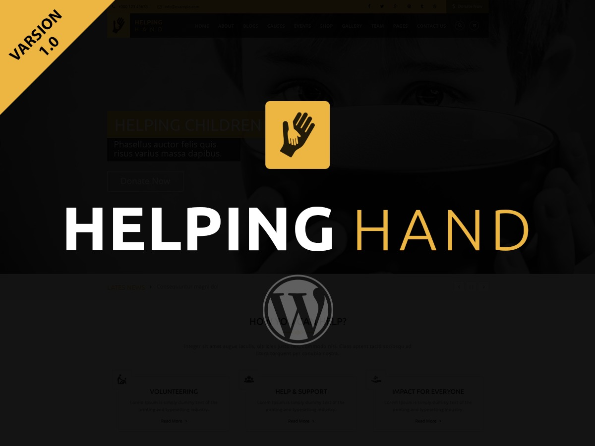 Helping Hand WordPress page template