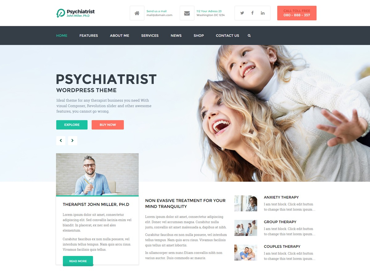 Psychiatrist company WordPress theme