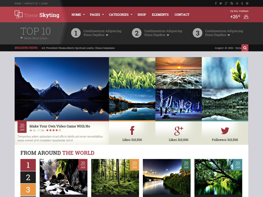 Skyting WordPress news template