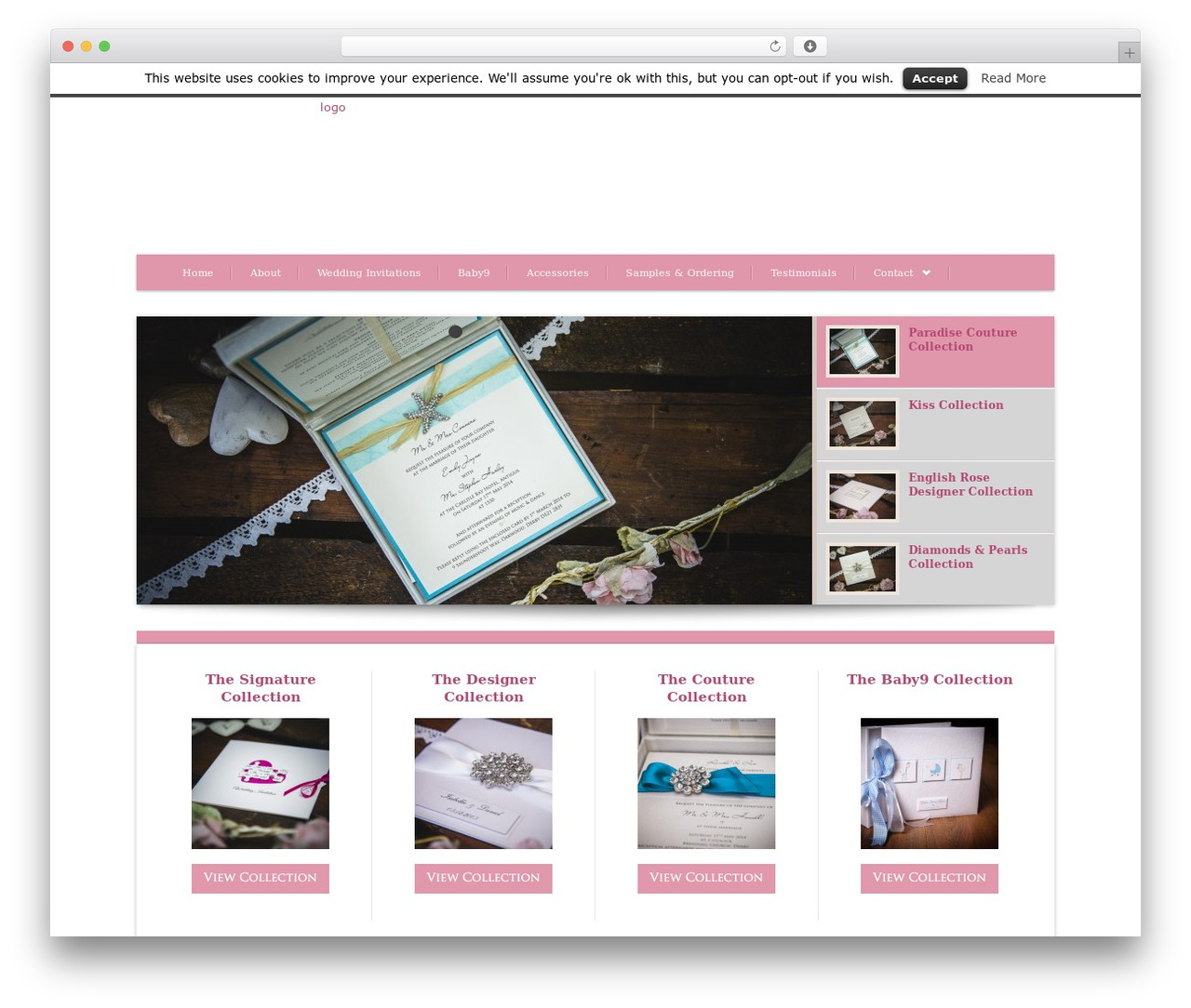 Bellissima WordPress wedding theme - no9designs.co.uk
