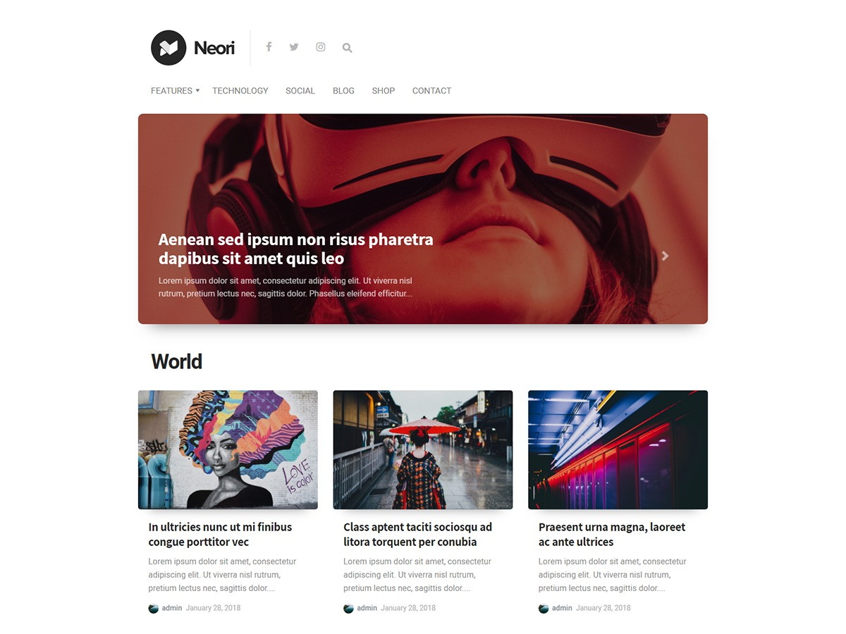 Neori WordPress news theme