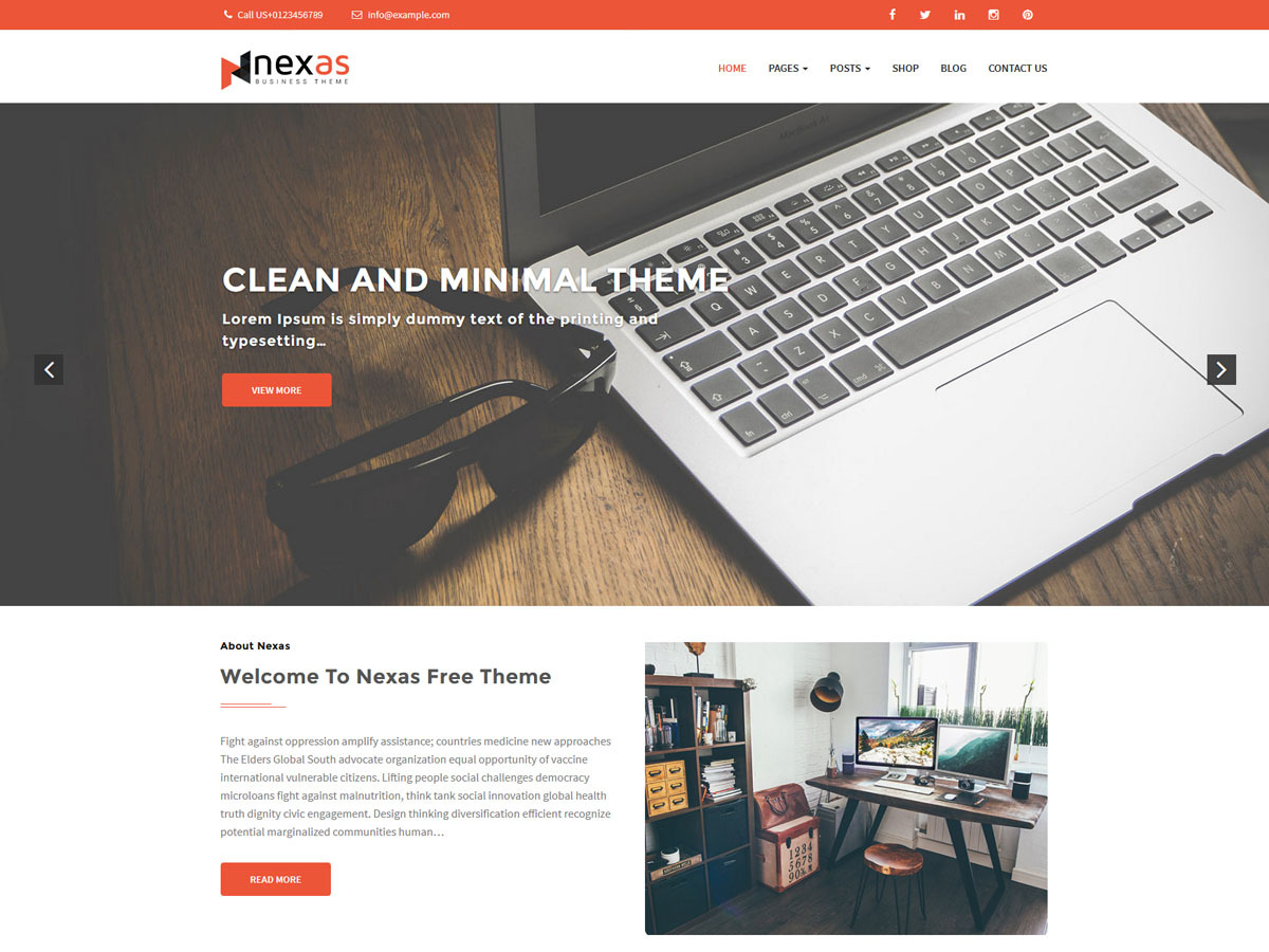 Nexas WordPress template for business