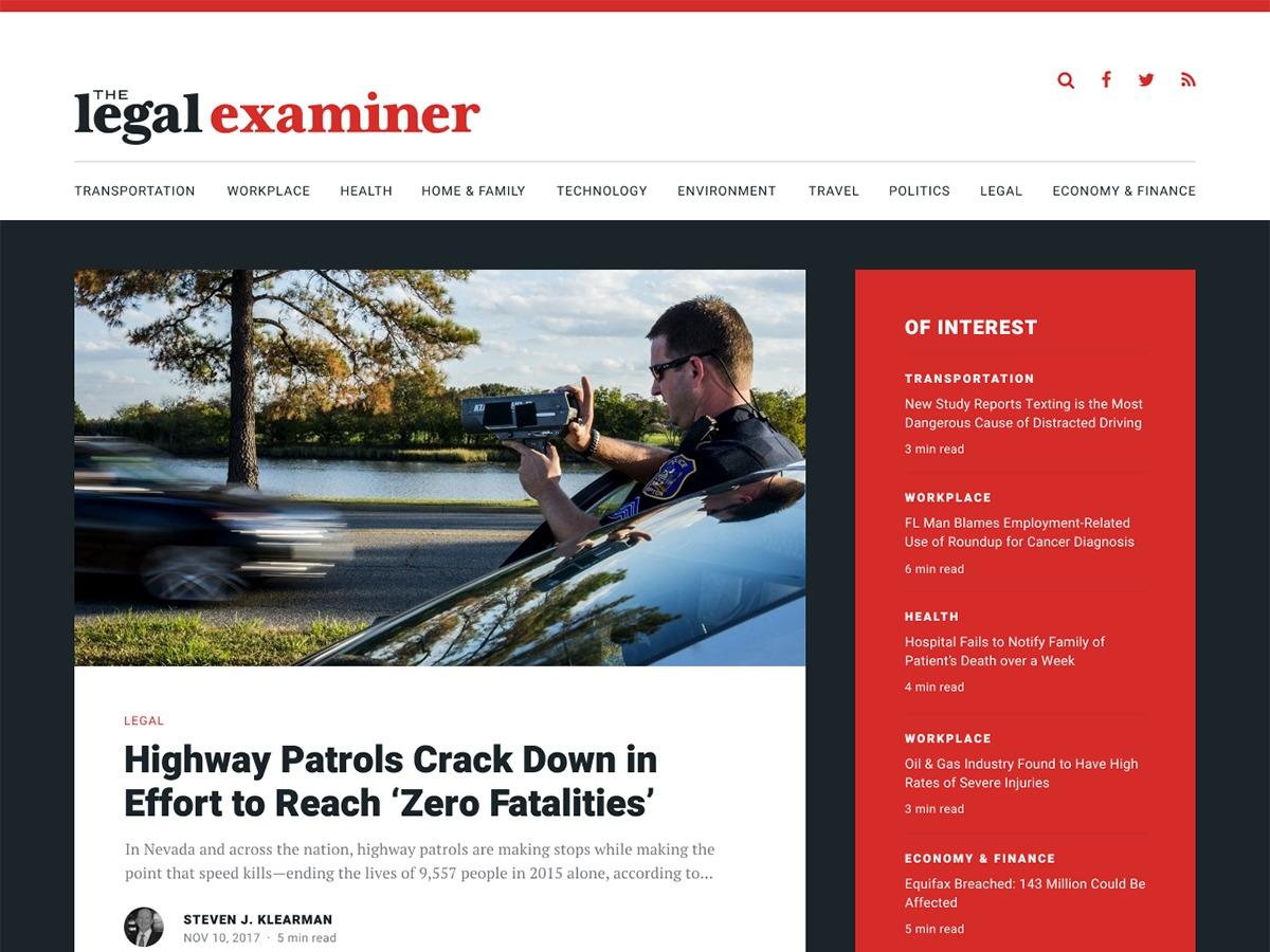 The Legal Examiner best WordPress theme