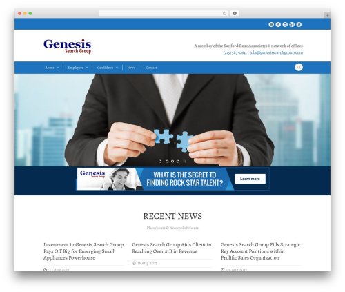 Flawless company WordPress theme - genesissearchgroup.com