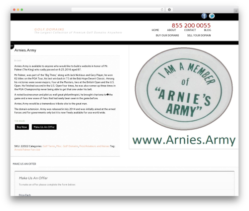 WordPress theme Essential WooCommerce Auction Theme - golf.domains/product/arnies-army