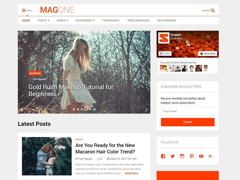 MagOne Lite WordPress magazine theme