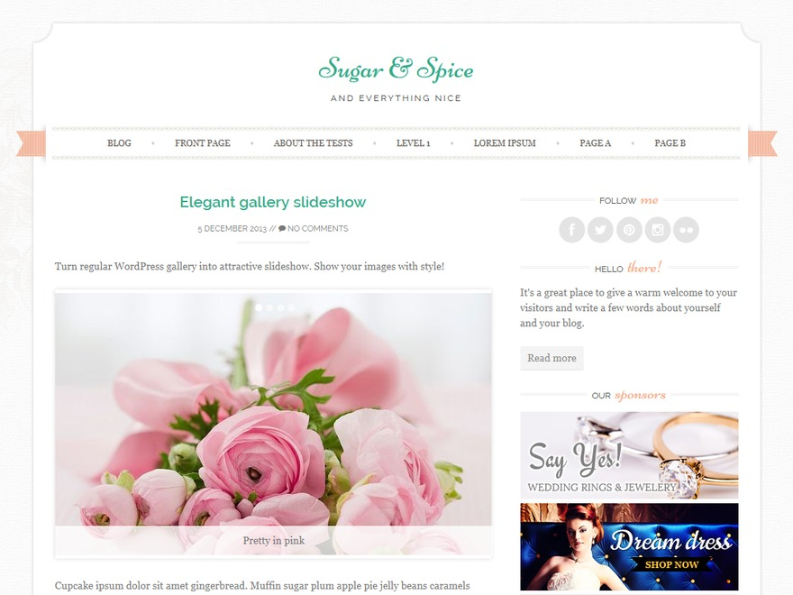 Sugar and Spice WordPress ecommerce theme