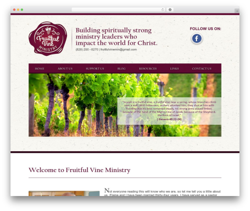 WordPress theme Fruitful Vine Ministry - fruitfulvineministry.com