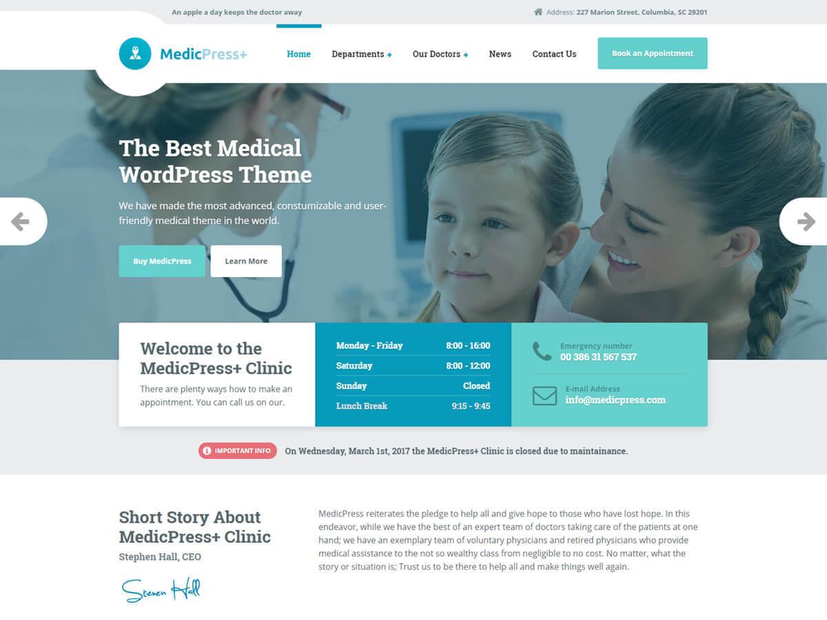 WordPress website template MedicPress PT