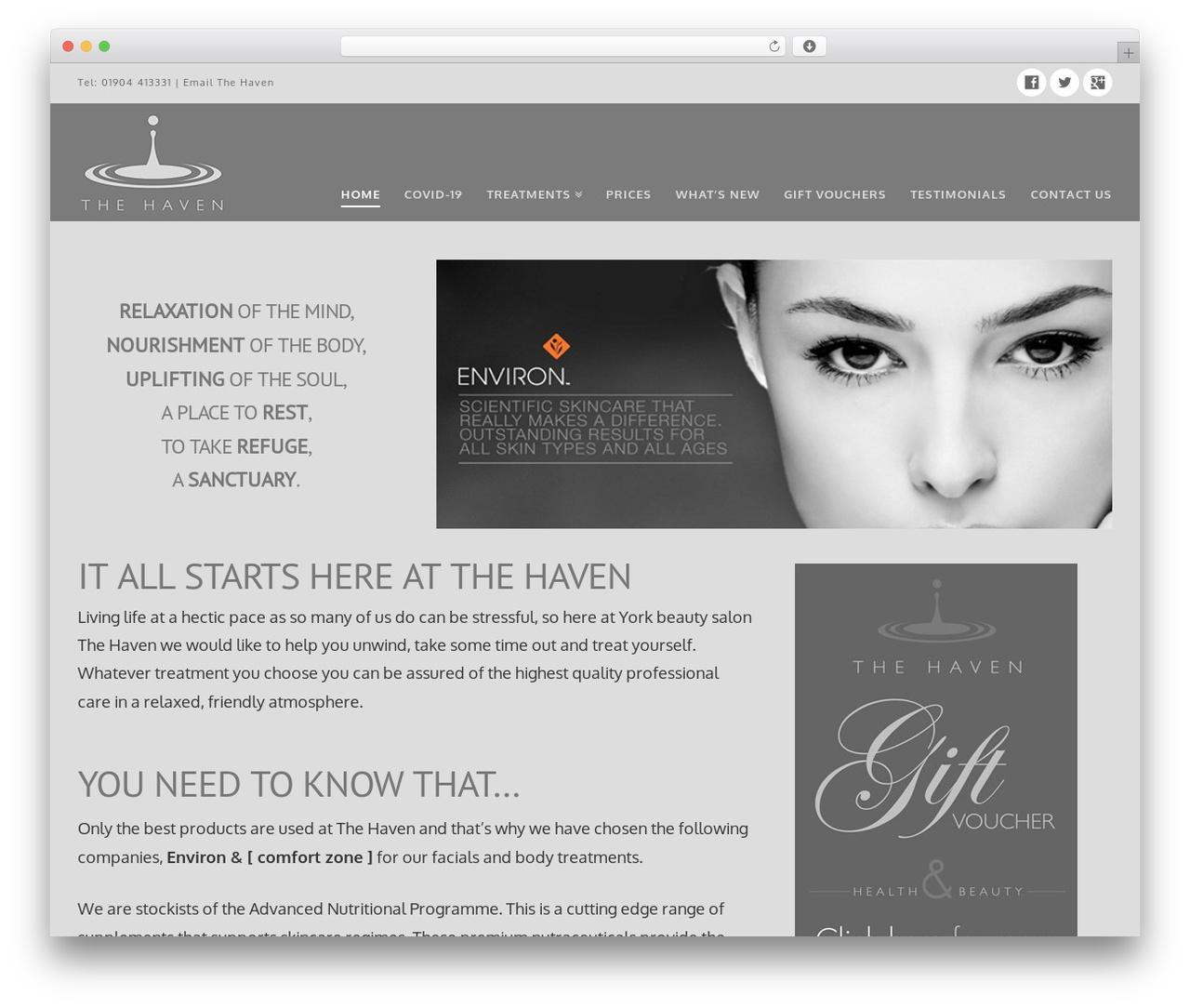 X WordPress theme - thehavenbeautysalon.co.uk