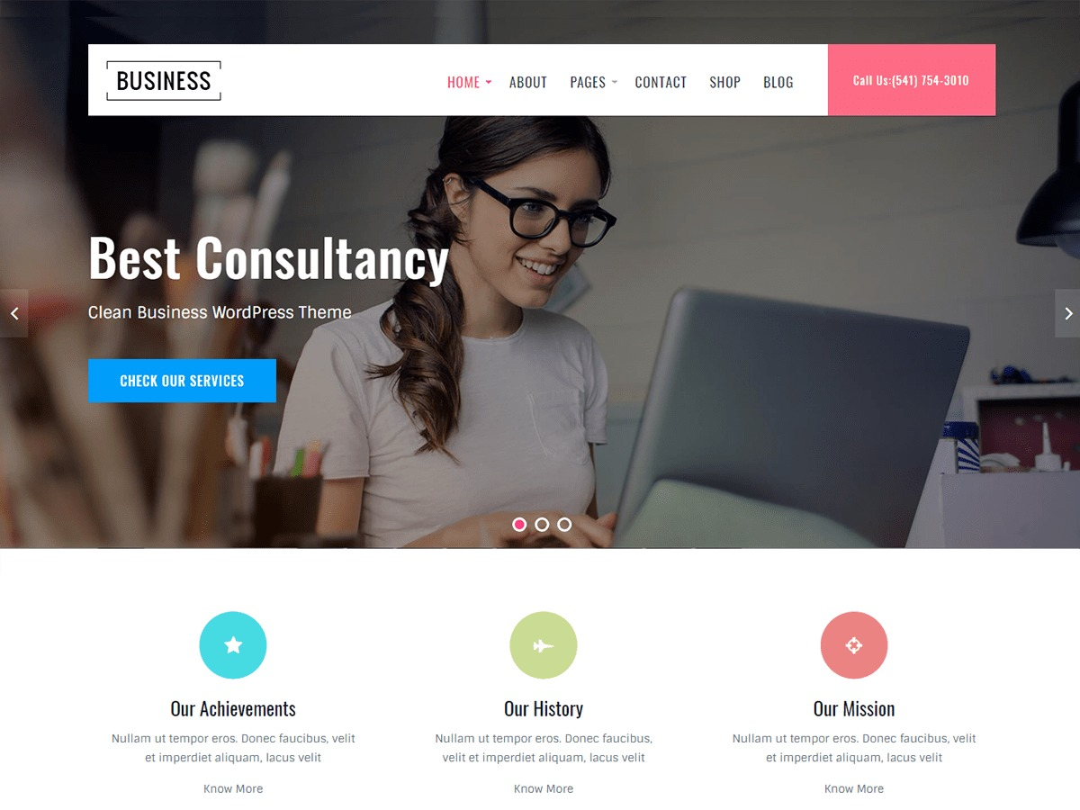 Business Key WordPress template for business
