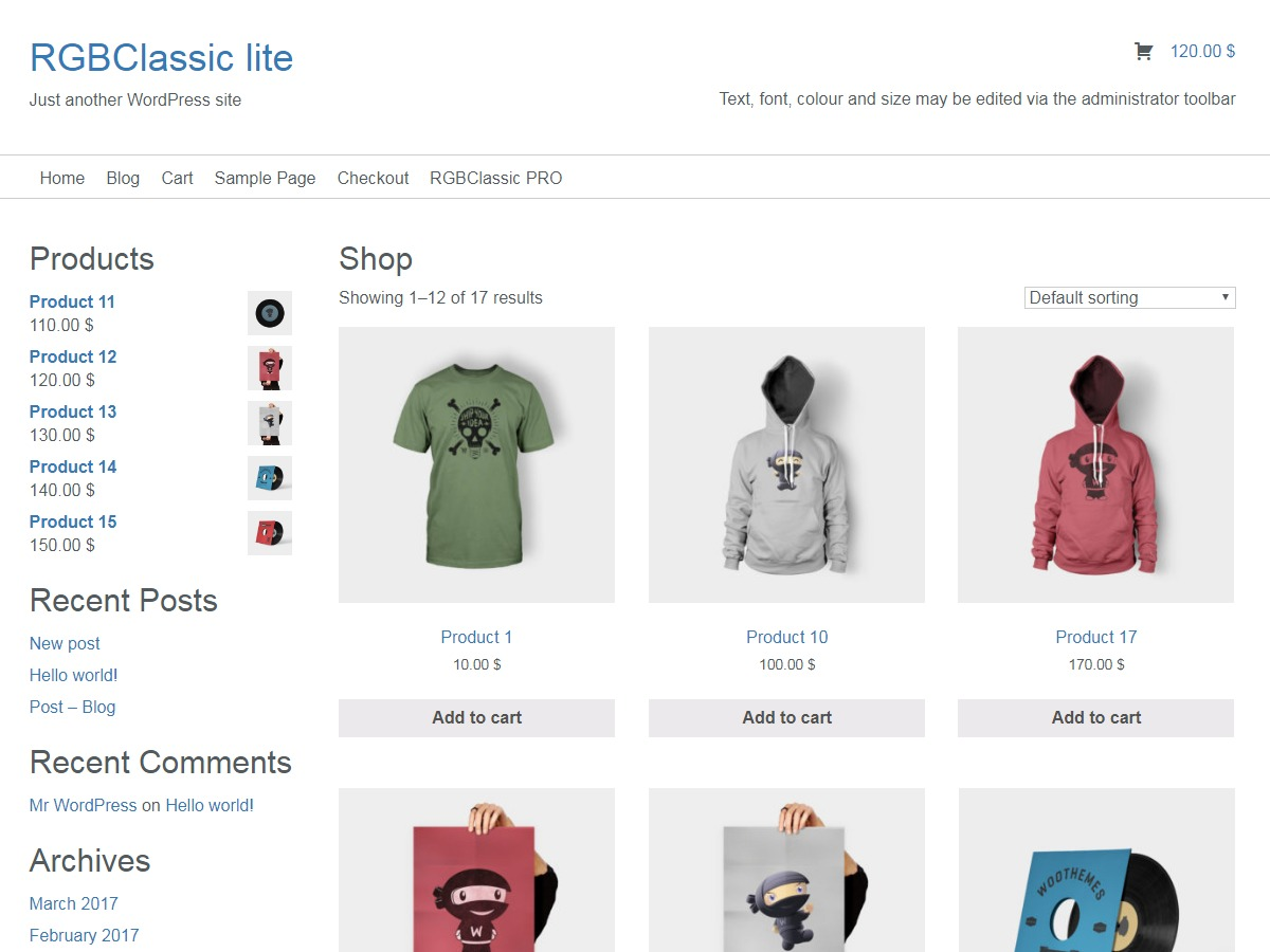 ClassicRGB lite WordPress ecommerce template