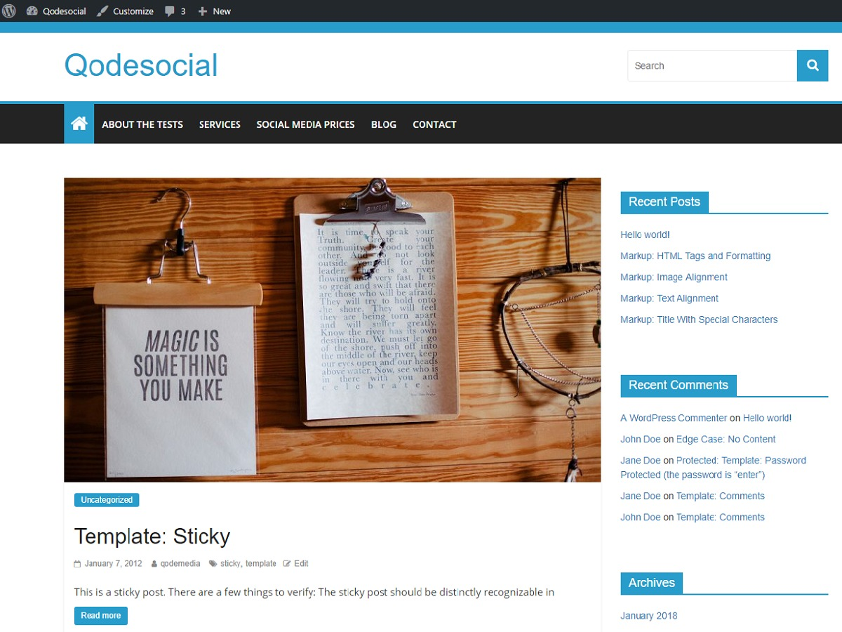 Qodesocial WordPress blog theme