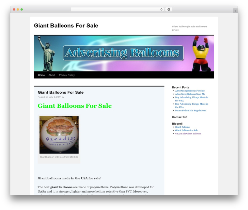 Twenty Ten best free WordPress theme - giantballoonsforsale.org
