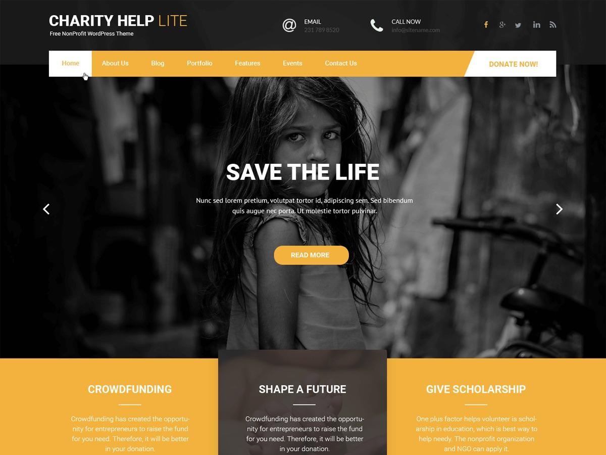 WordPress website template Charity Help Lite