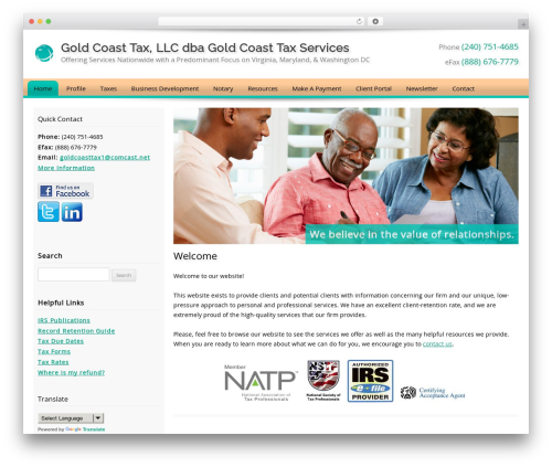 Customized WordPress theme - goldcoasttax.net