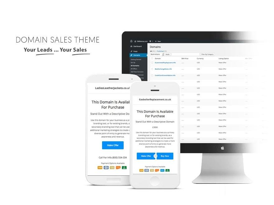 Domain Sales Theme WordPress landing page theme