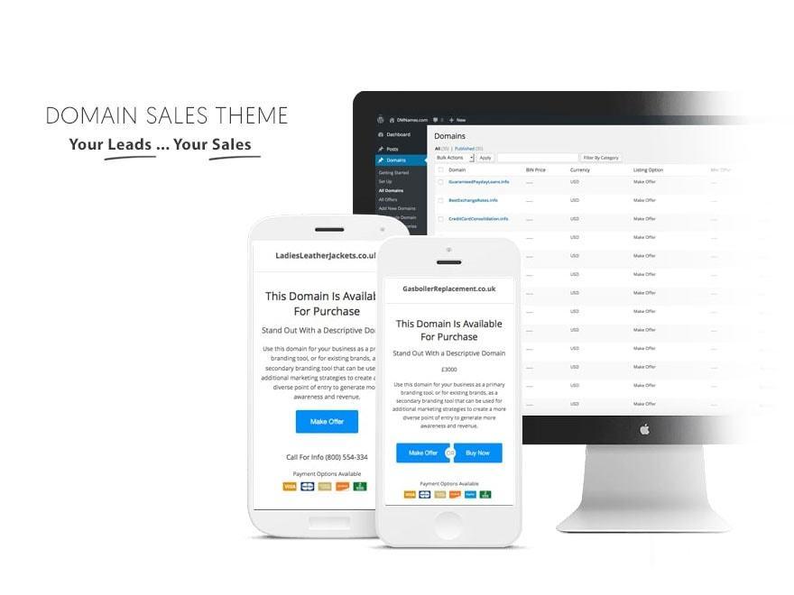 Domain Sales Theme WordPress landing page theme