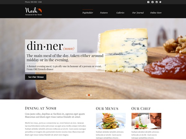 Nosh (shared on wixtheme.com) WordPress restaurant theme