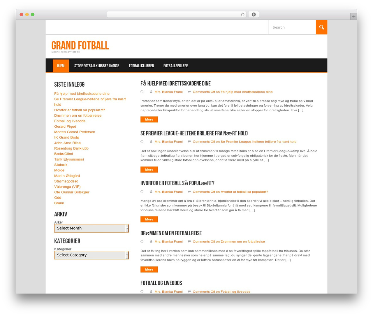 Koenda top WordPress theme - grandfotball.com
