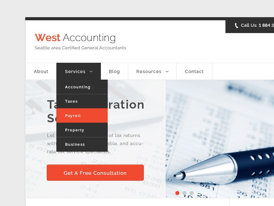 Accountancy WordPress theme design