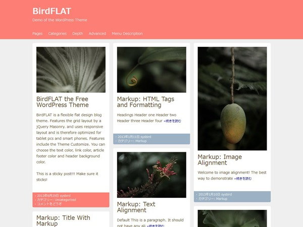 BirdFLAT WordPress blog template
