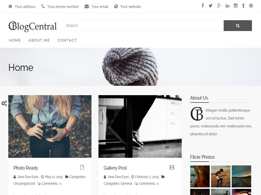 BlogCentral WordPress blog template