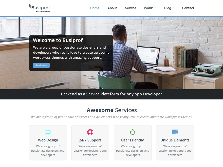 Busiprof WordPress blog template