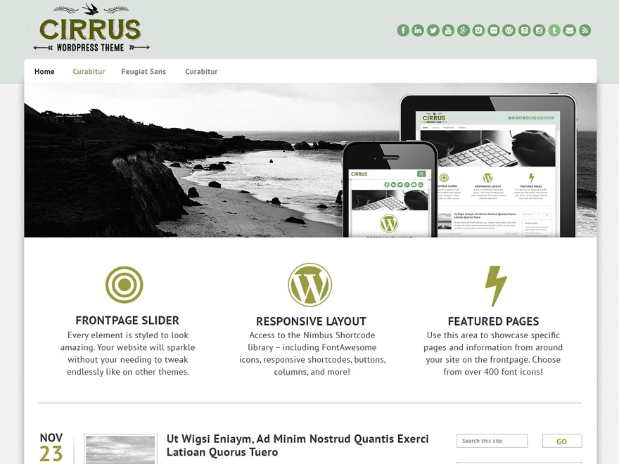 Cirrus company WordPress theme