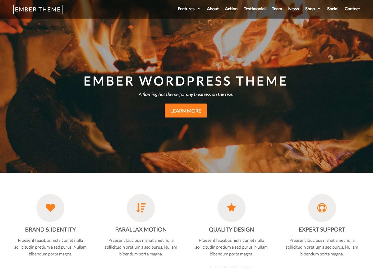 Ember company WordPress theme