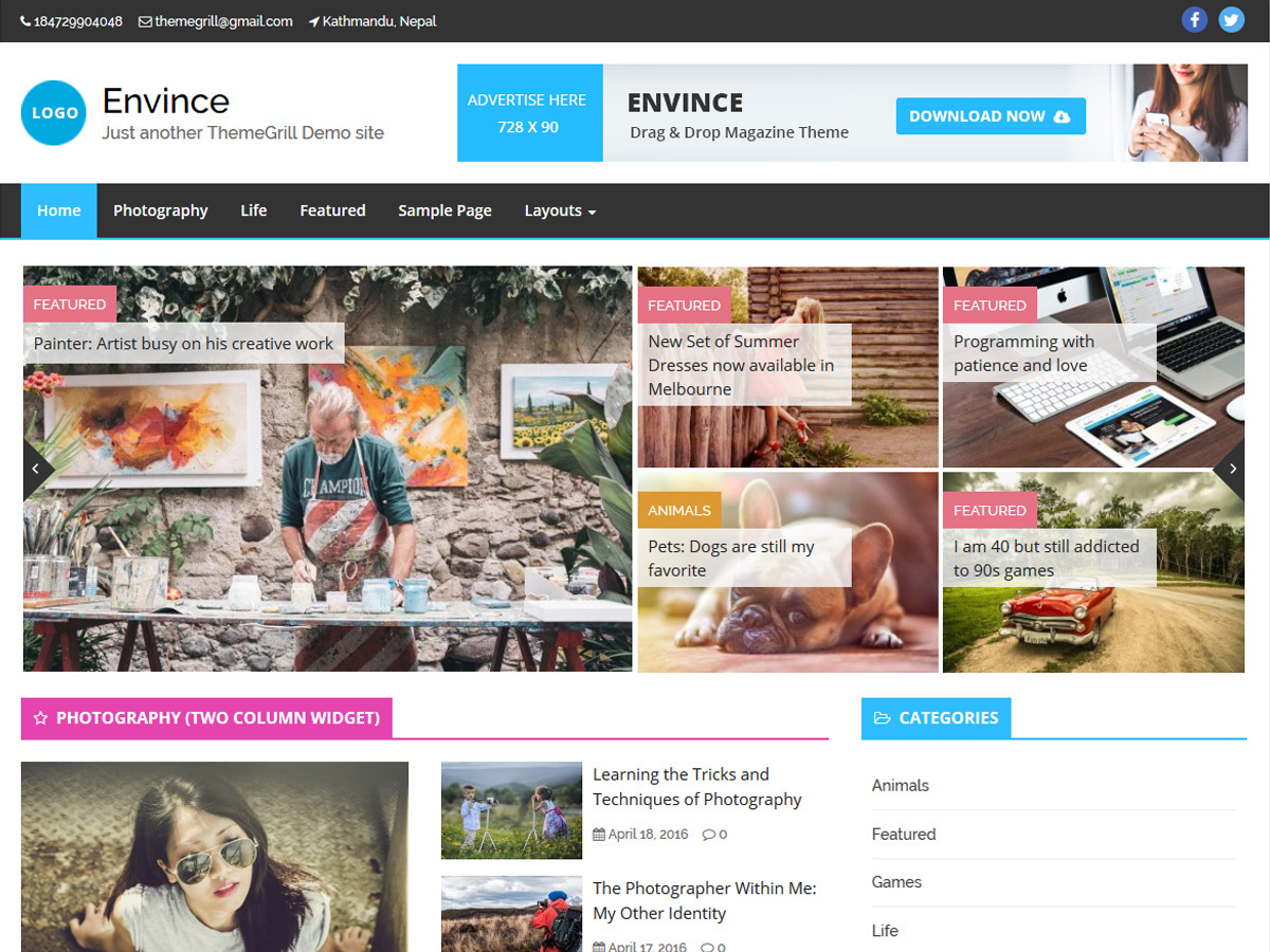 Envince WordPress news template