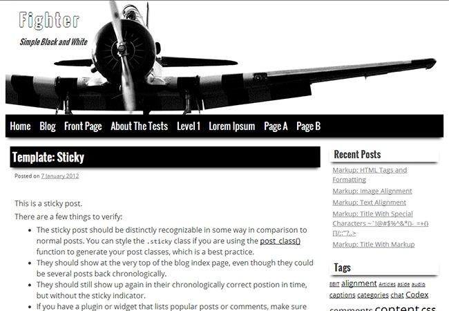 Fighter WordPress theme design