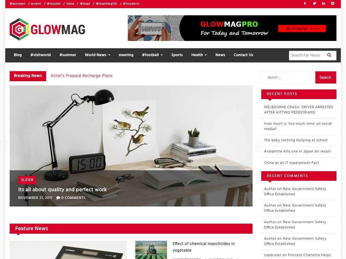 GlowMag WordPress blog template