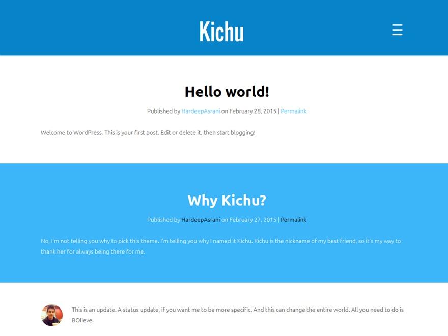 Kichu WordPress template free