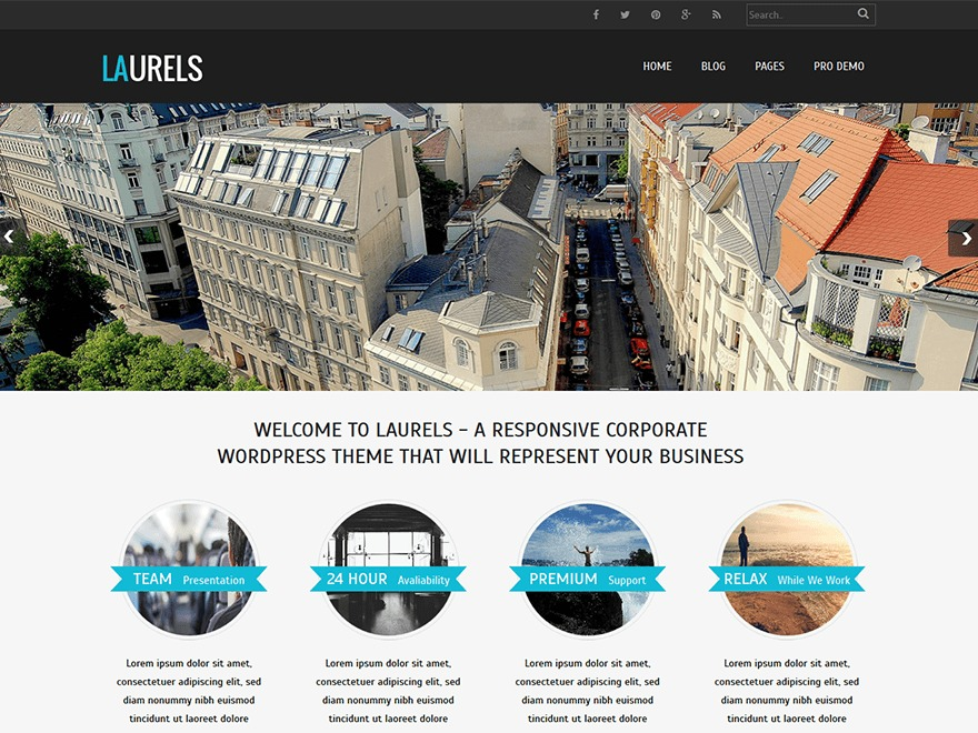 Laurels WordPress template for business