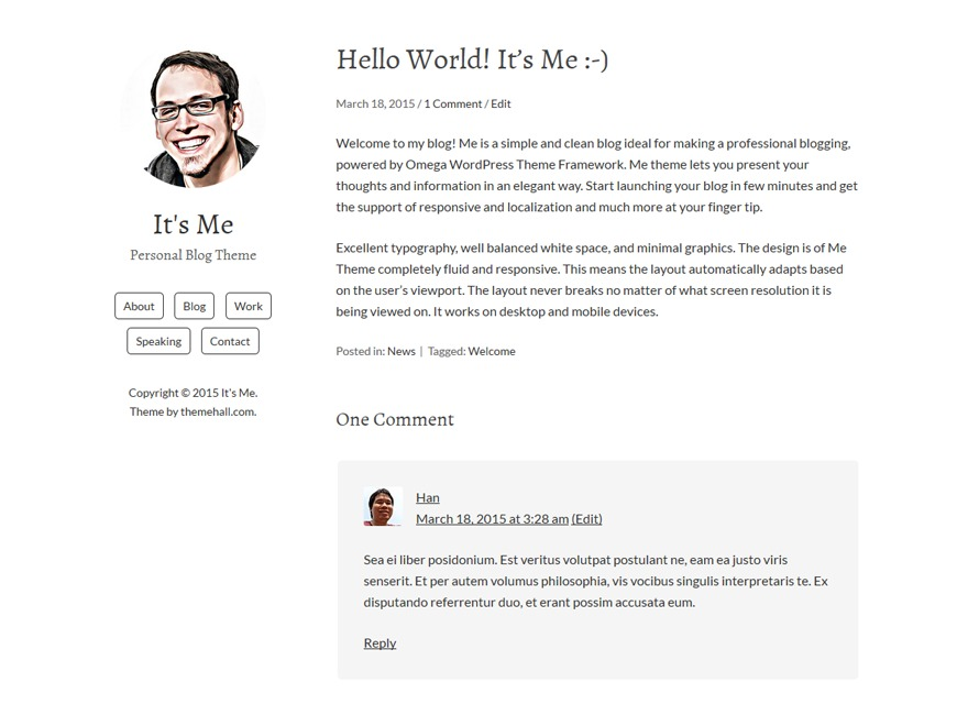 Me WordPress blog template