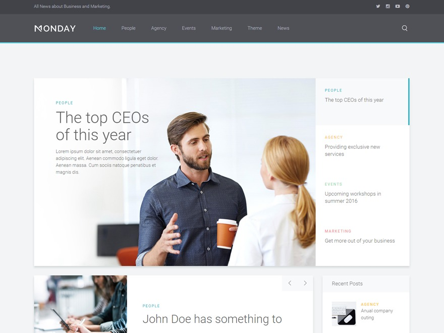 Monday WordPress template