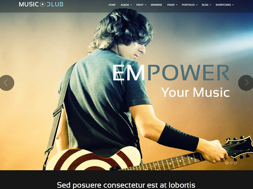 Music Club WordPress website template