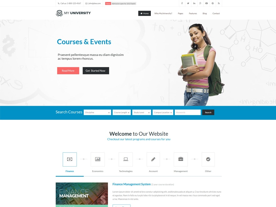 My University WordPress template