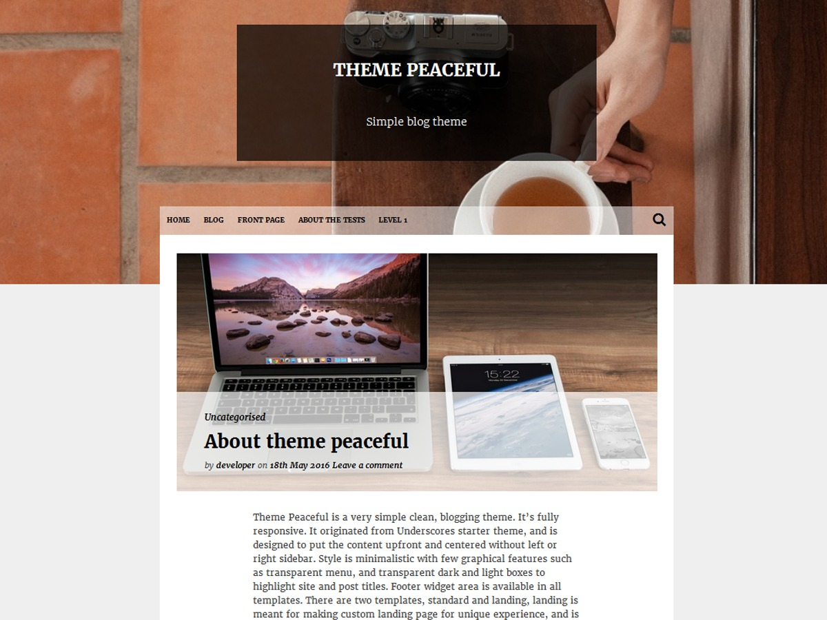 Peaceful WordPress theme free download