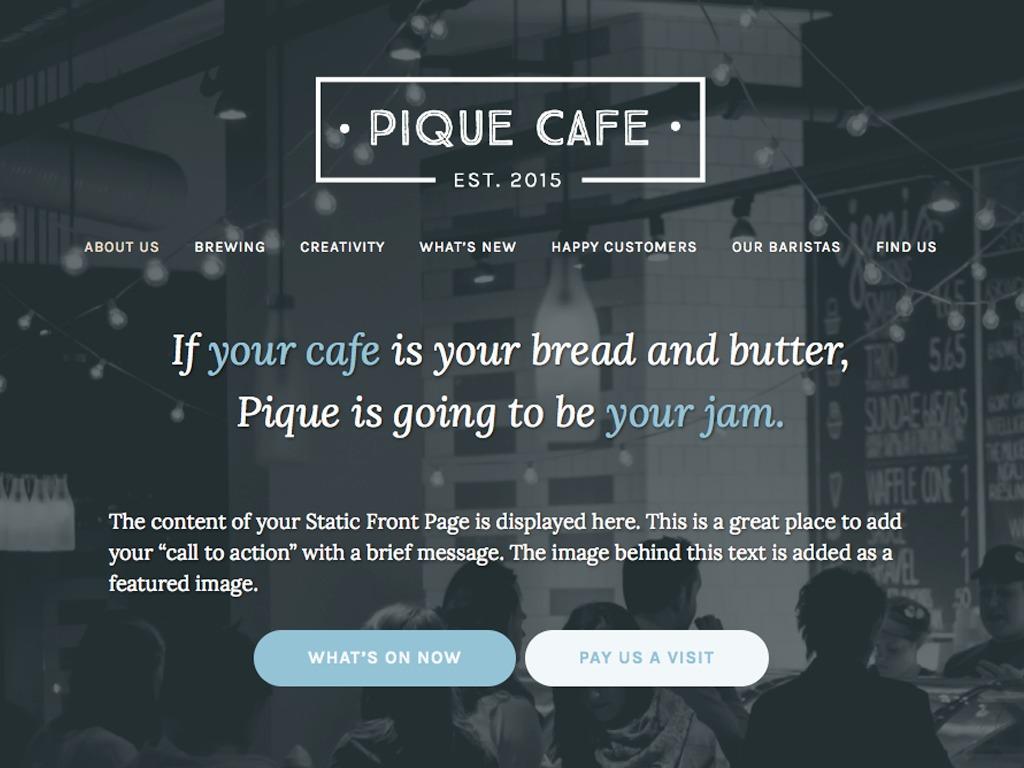 Pique template WordPress free