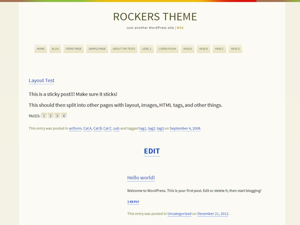 Rockers WordPress blog template