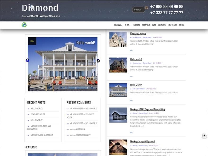 SG Diamond free WP theme