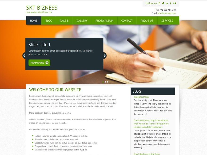 SKT Bizness Pro WordPress template for business