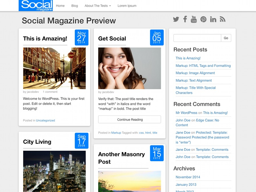 Social Magazine WordPress blog template